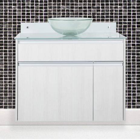 Imagem de Gabinete para Banheiro com Cuba de Vidro Parati Móveis Bonatto Rovere Sereno