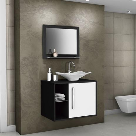 Gabinete Para Banheiro Com Cuba E Espelheira Baden Móveis Bechara Pretobranco