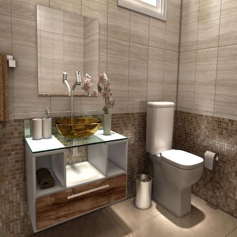 Imagem de Gabinete para Banheiro Cuba com Espelho Tampo Vidro Bahrein I7 Branco/Nogal