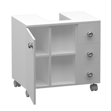 Gabinete Para Banheiro Encaixe De Pia Multiuso 57x60 Branco Peglev