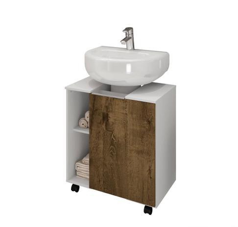 Imagem de Gabinete para Banheiro Gales Branco Madeira