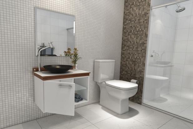 Imagem de Gabinete Para Banheiro Kaze Vidro Com Espelho e Cuba - Premium Gabinetes