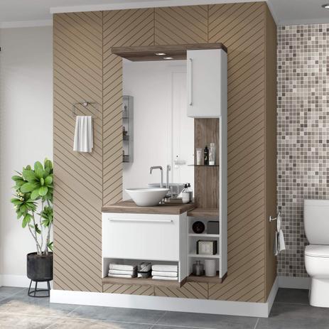 Imagem de Gabinete para Banheiro sem Cuba com Espelheira Arezzo Siena Móveis Champagne/Branco