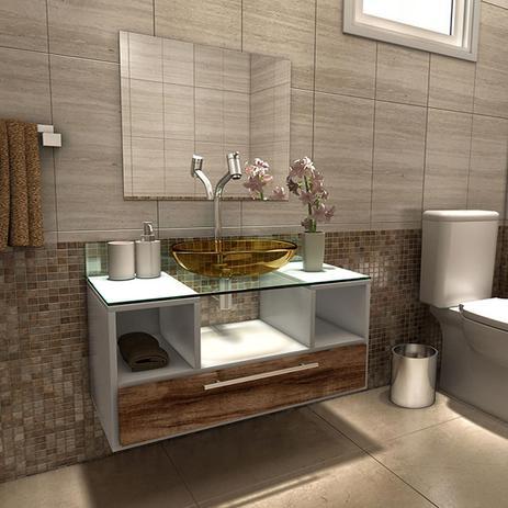 Imagem de Gabinete Para Banheiro Taiyo Com Gaveta Nogal Com Espelho e Cuba - Branco/Nogal - Premium Gabinetes