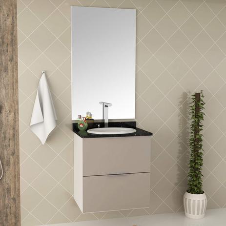 Gabinete Para Banheiro Tampo Em Mármore E Armário Com Espelho 60cm Pietra Móveis Bosi Brancogianduia Brilho