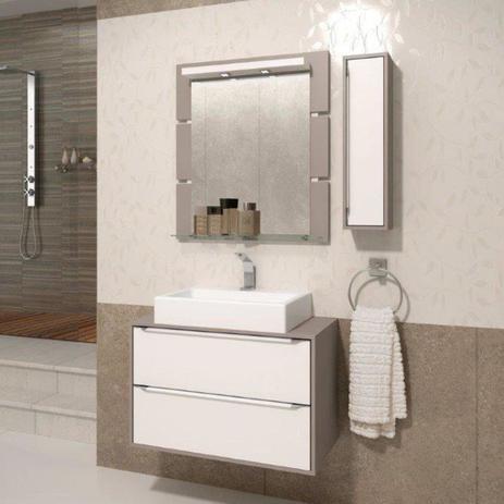 Imagem de Gabinete Suspenso para Banheiro com Espelheira Ravena 80 Balcony Supremo/Connect