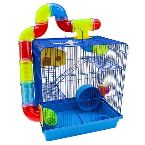 Imagem de Gaiola Para Hamster Roedores Jel Plast Super Luxo 3 Andares Azul