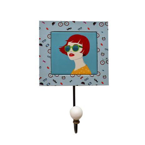 Imagem de Gancho Girl Madeira Com Azulejo Decorativo - Cor Azul