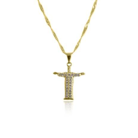 Gargantilha com Pingente Cristo Redentor Folheado a Ouro 18K - Lunozê a832bd6e51