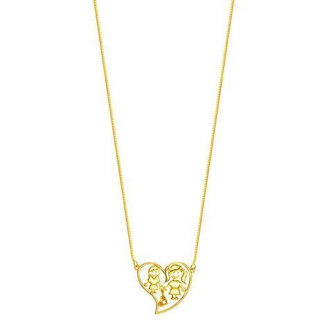 Imagem de Gargantilha em Ouro 18K Coração com Mãe e Filha - AU4496