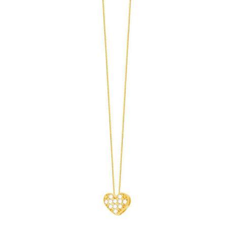 Imagem de Gargantilha em Ouro 18K Coração com Zircônias - AU4867