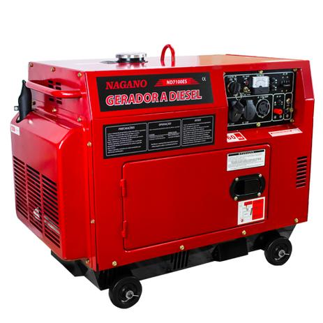 7b2a789784e Gerador de Energia a Diesel Silenciado 6 KVA Monofásico Partida Elétrica -  ND7100ES - Nagano