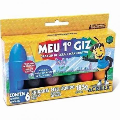 Imagem de Giz de cera 06 cores meu primeiro giz 09506 Acrilex CX 1 CJ