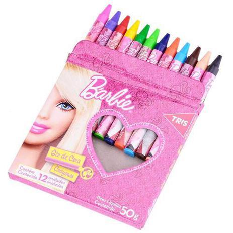 Imagem de Giz De Cera 50g - Fino - 12 Cores - Redondo - Barbie - Tris