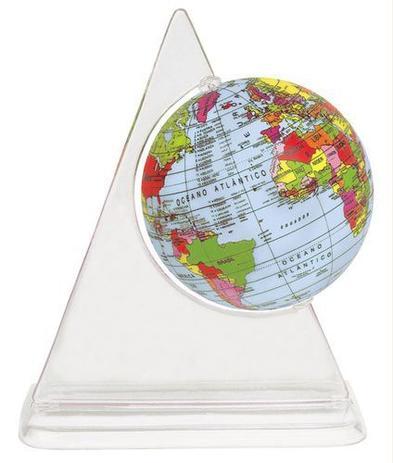 Imagem de Globo Terrestre 10cm: Político - Junior - Base Triangular Transparente