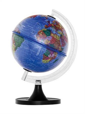Imagem de Globo Terrestre 21cm: Aquarela - Político - Azul Royal Plástico s/ luz (base preta)