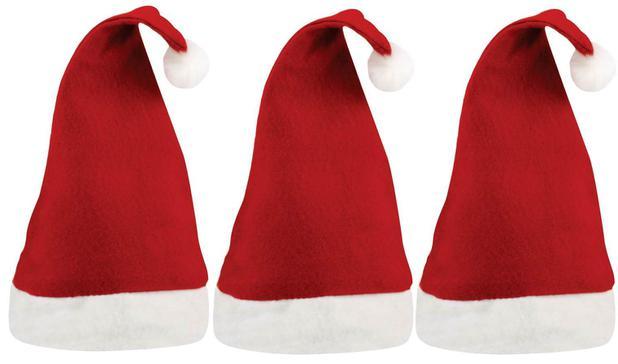 Gorro Papai Noel Feltro Vermelho Simples Kit 3 Unidades - Magizi ... 82092c1bd5d