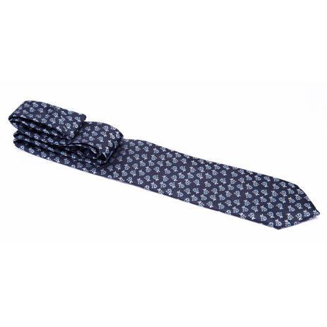 Imagem de Gravata azul marinho com flores em tons de azul - Tradicional