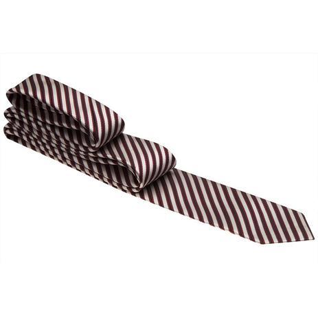 Imagem de Gravata branca com listras vermelho vinho e preto