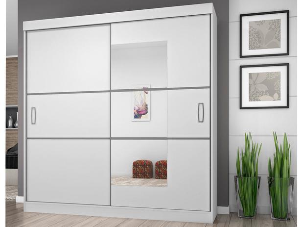 Guarda-roupa Casal 2 Portas de Correr 4 Gavetas - Araplac Atraente 2040-90 com Espelho