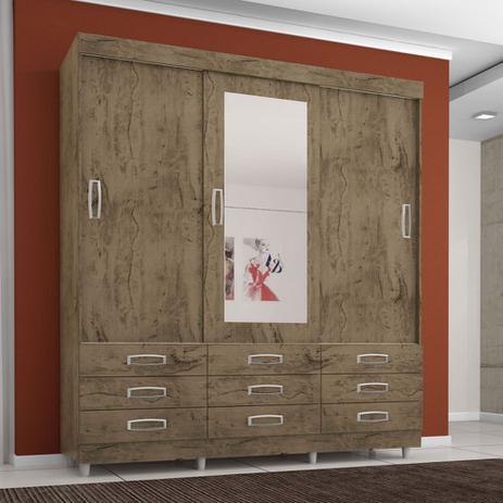 Imagem de Guarda Roupa Casal 3 Portas 9 Gavetas C/ Espelho Demolição