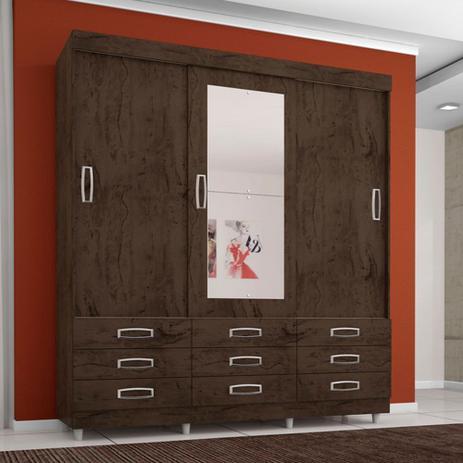 Imagem de Guarda Roupa Casal 3 Portas 9 Gavetas C Espelho Flex Color