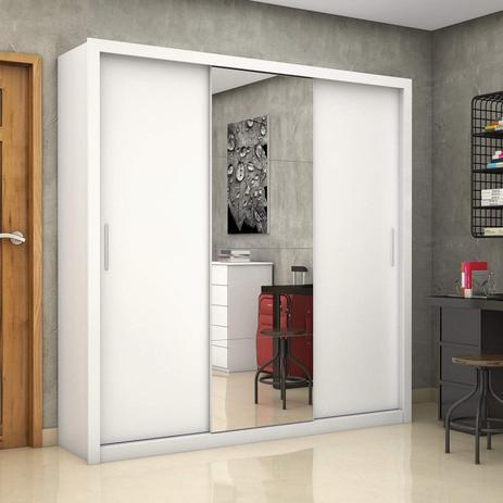 Imagem de Guarda Roupa Casal 3 Portas com Espelho Clarice Plus Siena Móveis Branco