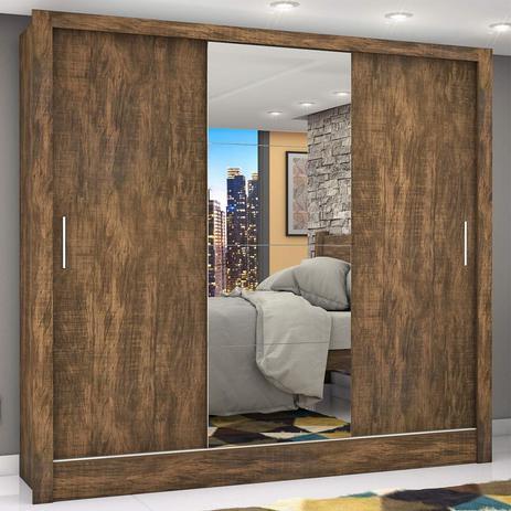 Imagem de Guarda Roupa Casal 3 Portas com Espelho Porto Plus Espresso Móveis Demolição