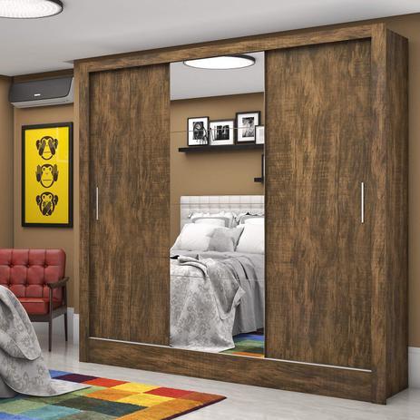Imagem de Guarda Roupa Casal 3 Portas com Espelho Santiago Plus Espresso Móveis Demolição