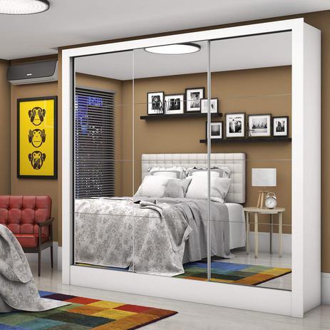 Imagem de Guarda Roupa Casal 3 Portas com Espelho Santiago Premium Espresso Móveis Branco