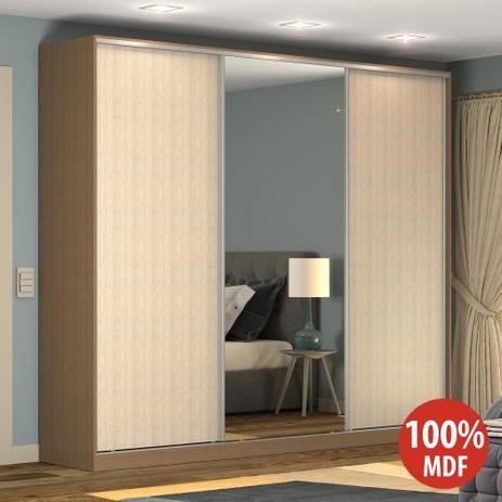 Imagem de Guarda-Roupa Casal 3 Portas Correr 1 Espelho Rc3002 Ocre/Noce - Nova Mobile