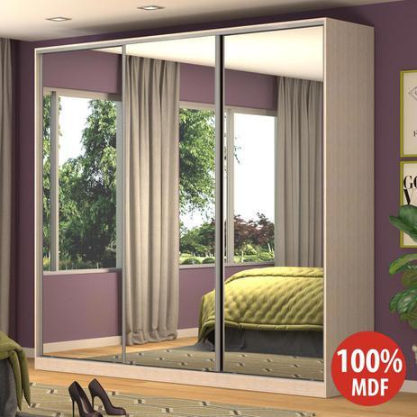 Imagem de Guarda-Roupa Casal 3 Portas Correr 3 Espelhos Rc3001 Noce - Nova Mobile