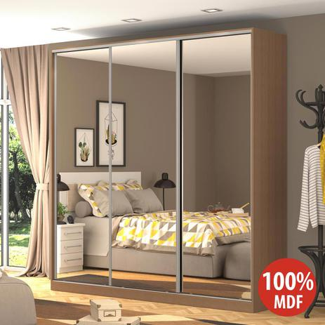 Imagem de Guarda-Roupa Casal 3 Portas Correr 3 Espelhos Rc3003 Ocre - Nova Mobile