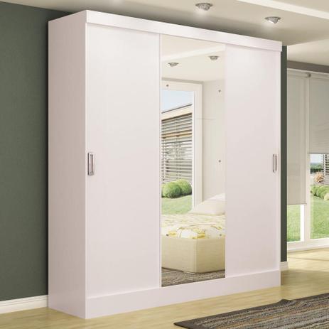 Imagem de Guarda-roupa casal 3 portas de correr 100% mdf em. plus com espelho branco - maxel