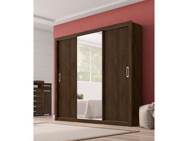 933238772 Guarda-Roupa Casal 3 Portas de Correr 2 Gavetas - Demóbile Residence com  Espelho