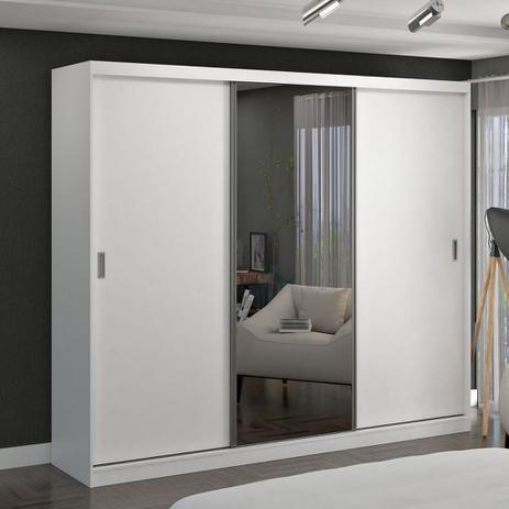 Imagem de Guarda-Roupa casal 3 Portas de Correr com 1 Espelho 100% MDF Branco Foscarini