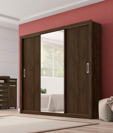 Imagem de Guarda-roupa Casal 3 Portas Deslizantes  Residence Espelho com Moldura em MDF - Demóbile