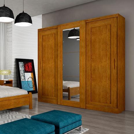 Imagem de Guarda-Roupa Casal 3 Portas e 6 Gavetas Suécia C/ Espelho  Rufato