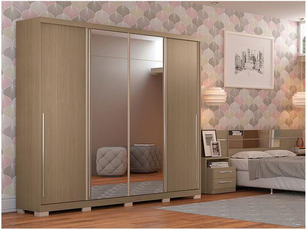 26c451900455f8 Guarda-roupa Casal 4 Portas de Correr 6 Gavetas - Kappesberg Monte Carlo  com Espelho