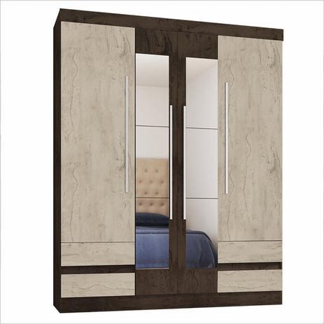 Imagem de Guarda-Roupa Casal 4400 4 Portas 4 Gavetas com Espelho Araplac