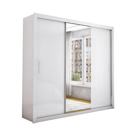 Imagem de Guarda Roupa Casal Berlim com Espelho e 3 Portas de Correr Cor Branco