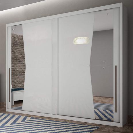 Imagem de Guarda Roupa Casal com Espelho 2 Portas de Correr Geom Espresso Móveis Branco