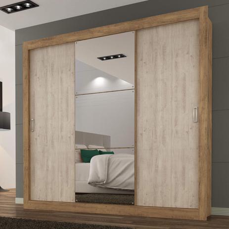 Imagem de Guarda Roupa Casal com Espelho 3 Portas 3 Gavetas Flex Color Smart Maxel Ipê Tex/Vanilla Tex
