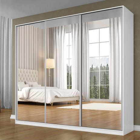 Imagem de Guarda Roupa Casal com Espelho 3 Portas de Correr 3 Gavetas Terrazo Siena Móveis Branco