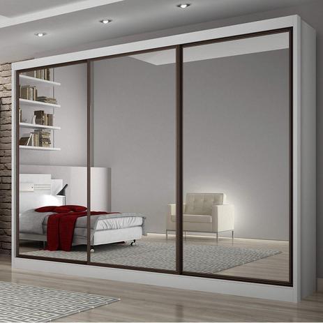 Imagem de Guarda Roupa Casal com Espelho 3 Portas de Correr 8 Gavetas Grand Siena Móveis Branco