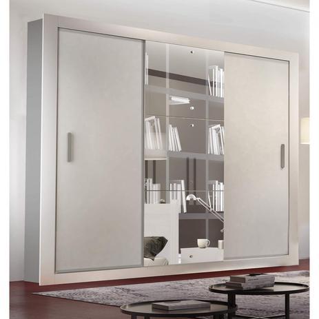 Imagem de Guarda Roupa Casal com Espelho 3 Portas de Correr Alice Luxo Siena Moveis Branco