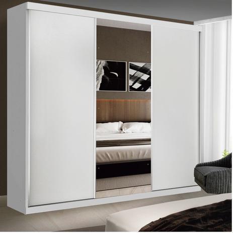 Imagem de Guarda Roupa Casal com Espelho 3 Portas de Correr Evidence Siena Móveis Branco