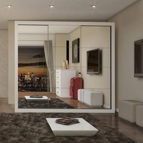 Imagem de Guarda Roupa Casal com Espelho 3 Portas de Correr Flórida Siena Móveis Branco