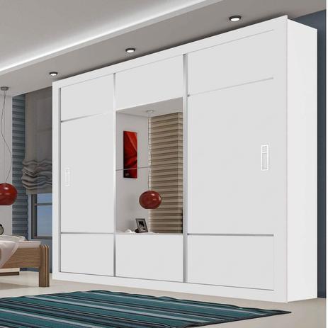Imagem de Guarda Roupa Casal com Espelho 3 Portas de Correr Lotse Espresso Móveis Branco