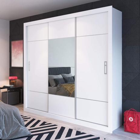 Imagem de Guarda Roupa Casal com Espelho 3 Portas de Correr Silva Capuccino Móveis Branco/Preto